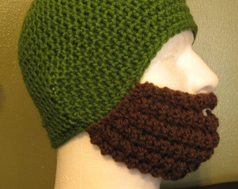Crochet Bearded Skullcap - Bearded Hat - Kelly Green Hat With Facewarmer - Ready To Ship!
