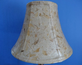 Botanical Lampshade - Medium Decoupage Bell Shade using Handmade Cream Colored Mulberry Paper with Leaf Pieces