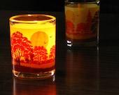 Mid Century Glass Candle Holders Tea Light