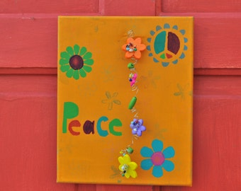 Simply ADORNable Peace Painted canvas with beaded flower accents