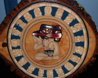 Hand painted Mayan Calendar Mandala