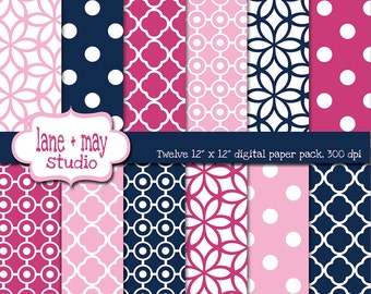 digital scrapbook papers - pink and navy blue patterns - INSTANT DOWNLOAD