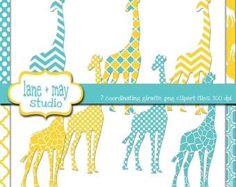 yellow and turquoise giraffe themed digital scrapbook clipart - INSTANT DOWNLOAD
