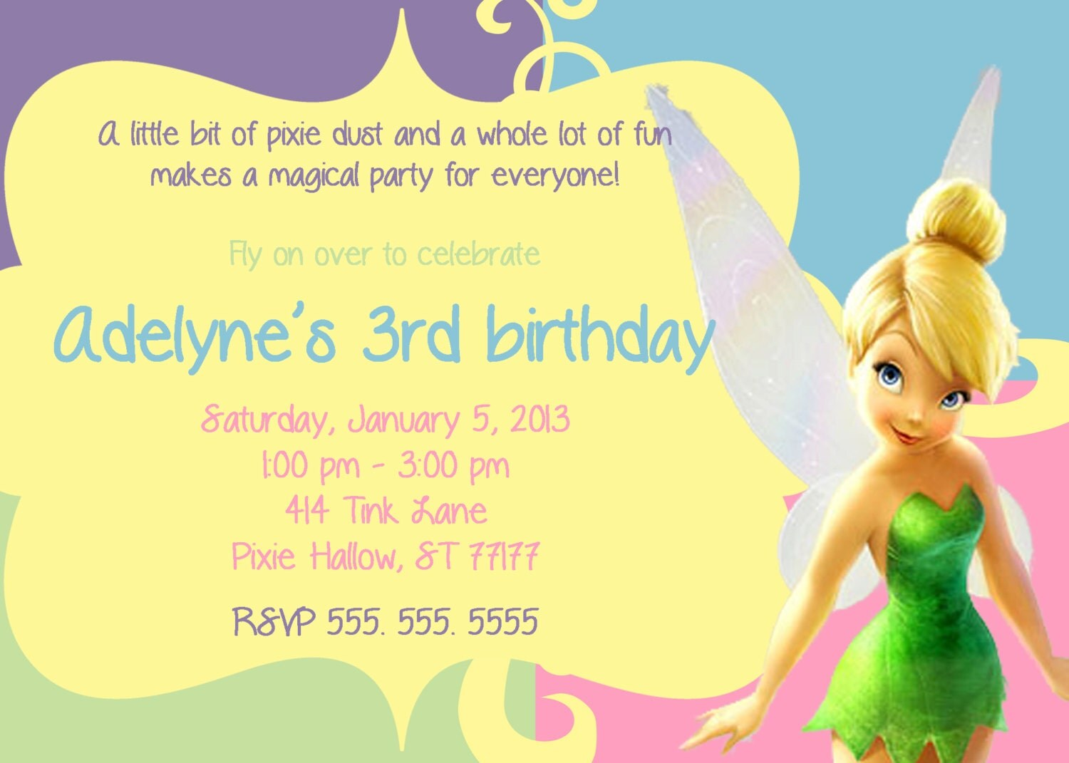tinkerbell invitation by partypassiondesign on etsy