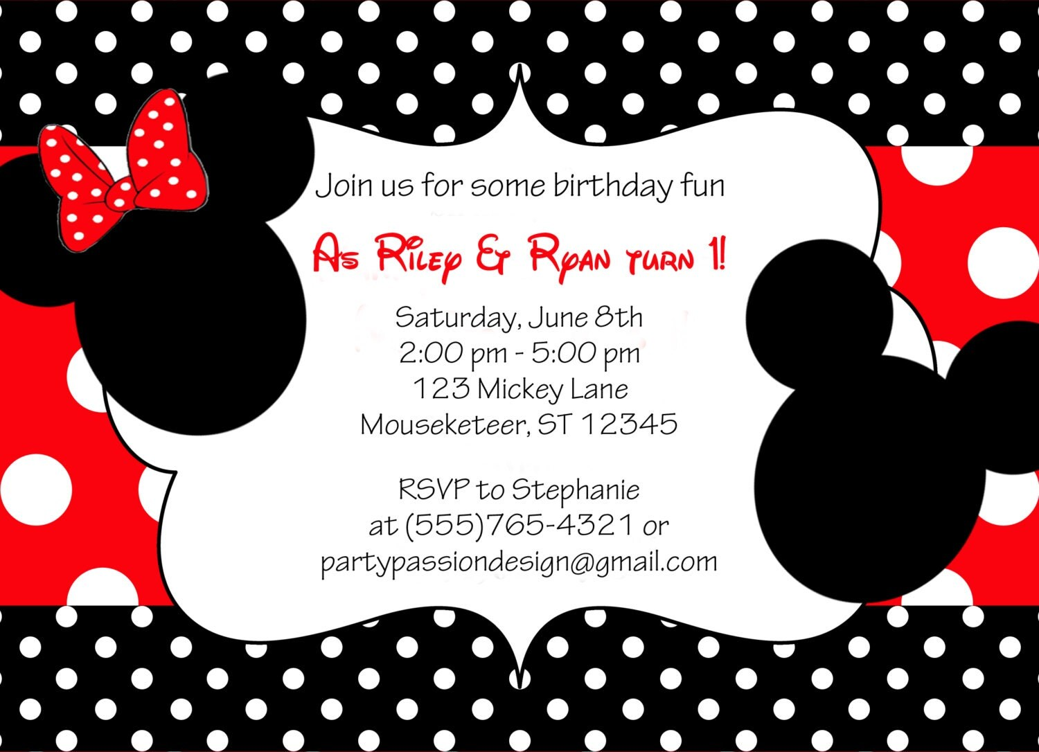 Custom Made Minnie Mouse Invitations with beautiful invitations layout