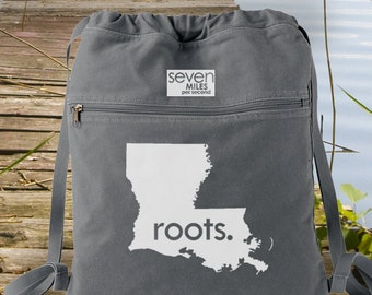 Louisiana LA Roots Canvas Backpack Cinch Sack