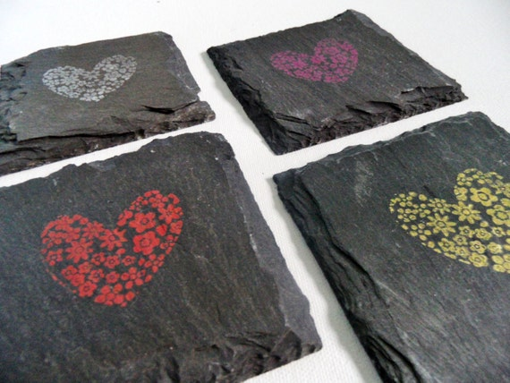 hearts of flowers coasters