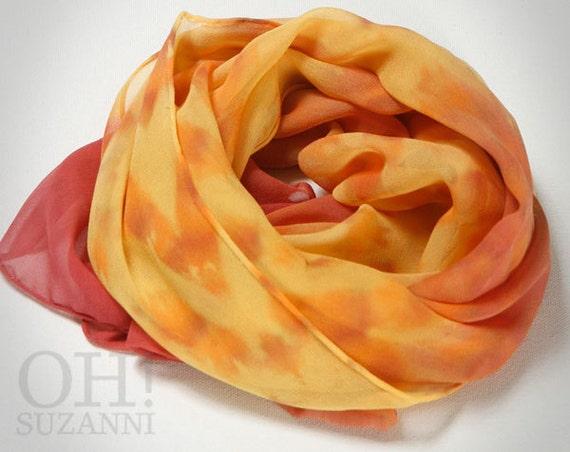 Yellow Summer Scarf // Silk Chiffon Scarf  // Hand Dyed Scarf, Shibori Tie Dye Scaves by Oh Suzanni