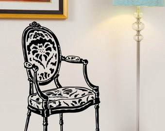 Antique French Victorian Side Chair Vinyl Wall Graphics Art Decal  LArge Size and Color Options