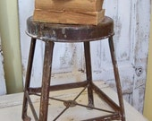 Distressed stool vintage Industrial furniture farmhouse metal weathered paint rusty decor piece Anita Spero