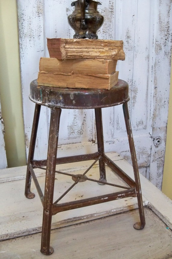 Distressed Stool Vintage Industrial Furniture Farmhouse Metal