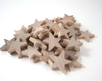 25 Small Wooden Stars - Unfinished Wood Star Embellishments