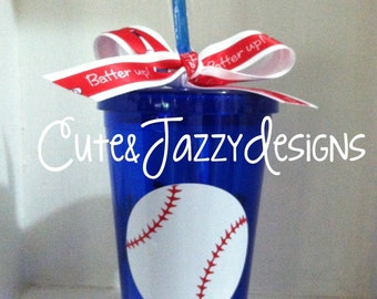 Personalized Baseball or Softball Theme, 16 oz, Acrylic, BPA Free Tumbler with Straw