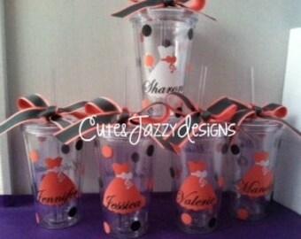 Personalized Wedding Set of 5, 16 oz, Acrylic, BPA Free Tumblers w/ Straws