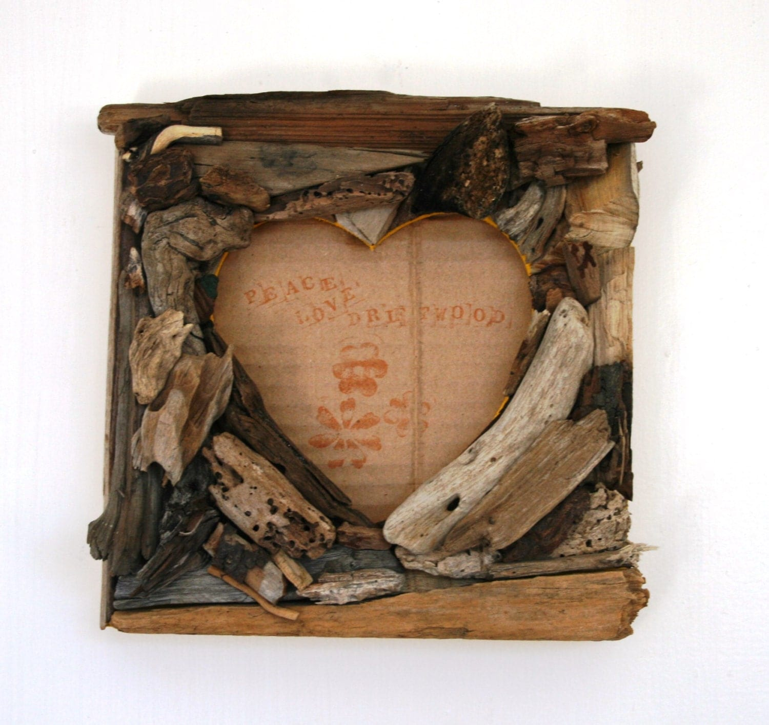 Square Heart Shaped Driftwood Frame