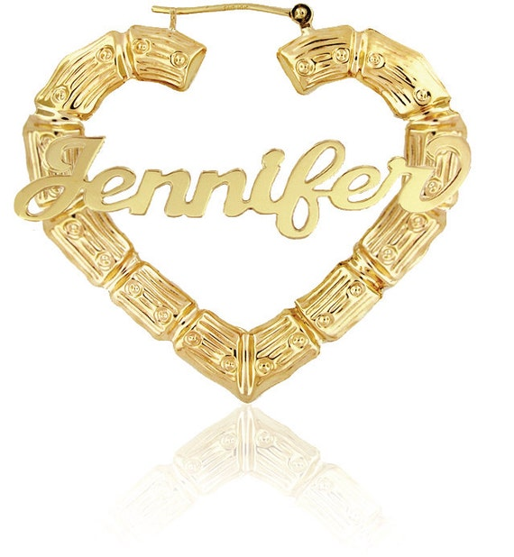 Real Gold Bamboo Earrings With Name
