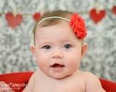 Red & White Polka Dot Shabby Chic Flower Headband- Baby Headband, Toddler Headband, Newborn Headband