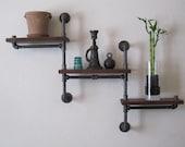 Double Pole - Three Tier Walnut Pipe Shelf