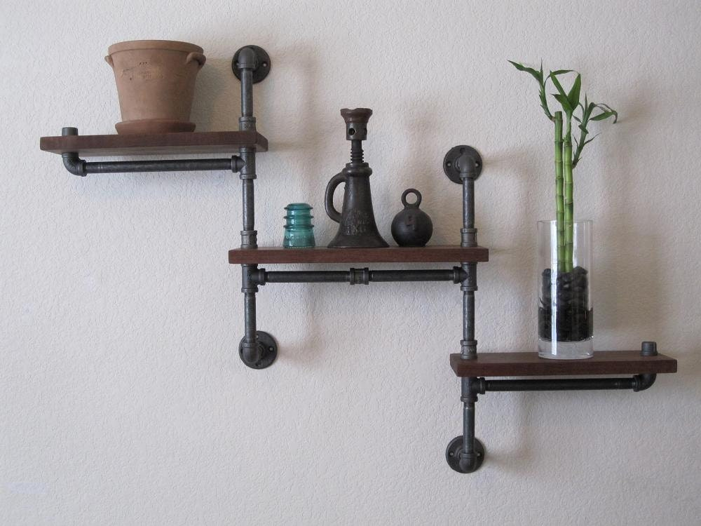 Double pole three tier walnut pipe shelf for What are old plumbing pipes made of