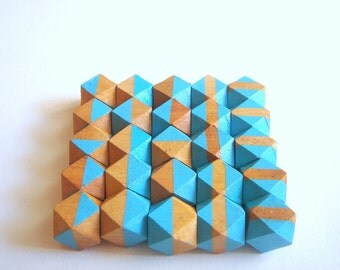 Blue Geometric Hand Painted Wood Beads,Do it Yourself Geometric necklace
