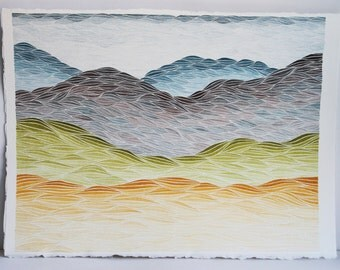 Lavender Hill, Original Watercolor Painting, Mountain Landscape by Keely Finnegan