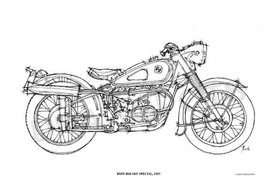 bmw r68 sdt special 1953poster de mi dibujo original hecho a