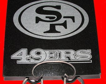 """San Francisco 49ers Plaque - Hand Etched in Black Granite 12"""" by 12"""""""