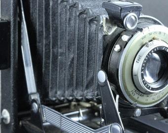 Kodak No.1 Diomatic Vigilant Six - 16 Antique Folding Camera In Original Leather Case