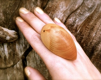 Adjustable Wooden Ring Wood Jewelry Big Rings Oversized