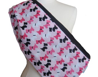 Reversible Pet Sling - Pink Dogs Black for Dogs and Cats