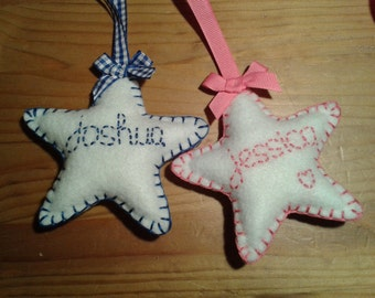 Personalised Baby Felt Star Decoration