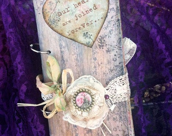 Heart themed Wedding Guest Book - Rose pink In vintage rustic scrapbook style
