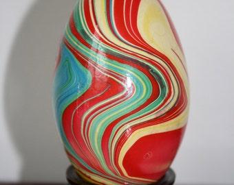 Vintage wood marbleized painted German egg in stand