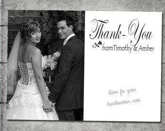 100 Photo Wedding Thank you cards on cardstock with envelopes. Printed for you