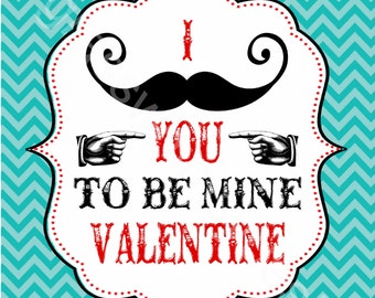 "I MUSTACHE You to be My Valentine Printables- 4.25 x 5.5"" (fit 4 to a page)"