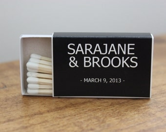 50 Custom Designed Matchbox Wedding Favors - Sarajane Style