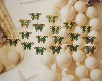 18 Goldplated 9mm Emerald Green Butterfly Connectors
