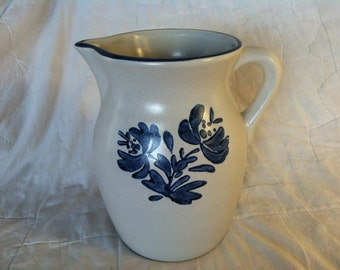 Pfaltzgraff Yorktowne Collection Large Pitcher Discontinued Grey and Blue Cobalt
