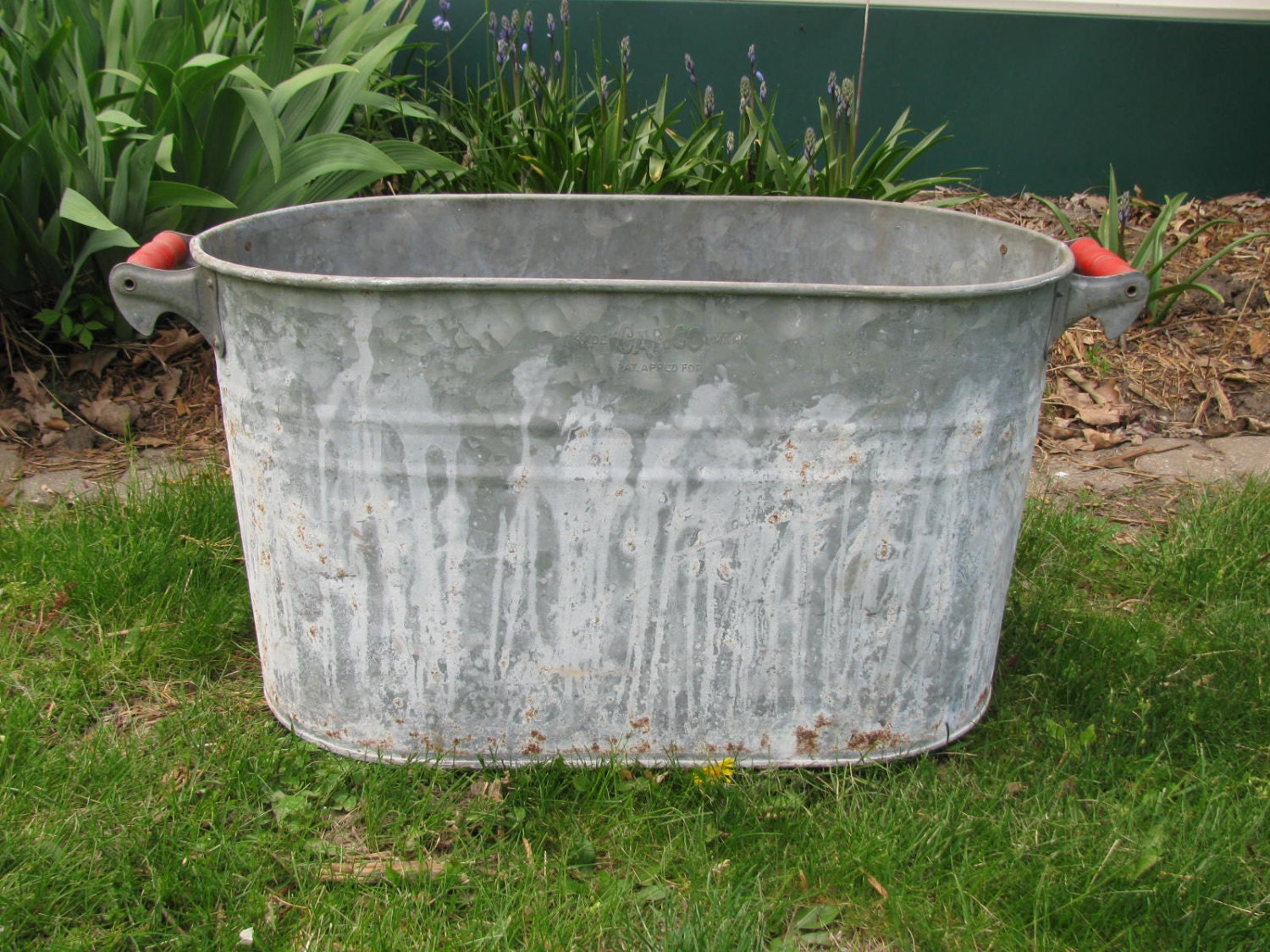 Large Vintage Galvanized Metal Oblong Bucket Tub Planter With