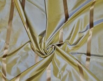 KOPLAVITCH FRANZINE SILK Satin Stripe Taffeta Fabric Remnant Seafoam Gold