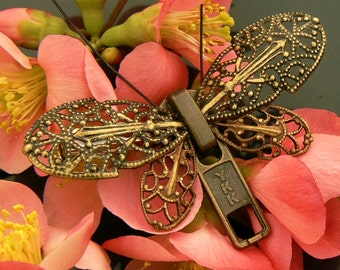 Steampunk Butterfly Zipper Brooch - Zipper Pin - Steampunk Jewelry