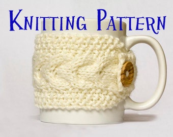 Instant Download PDF Knitting Pattern - Cabled Mug Cozy, Coffee Cup Sleeve, Cup Cover