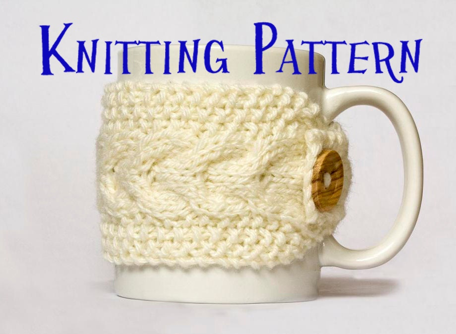 Knit Koozie Pattern : Instant Download PDF Knitting Pattern Cabled Mug Cozy