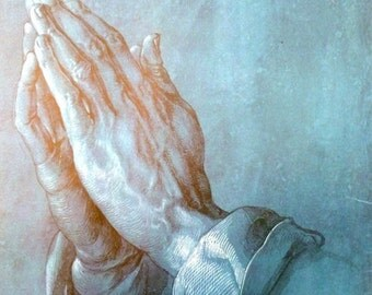 Praying Hands German Artist Albrecht Durer Vintage Art Print, 1966
