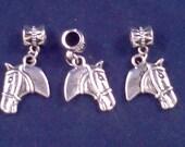 3 tibetan silver horse head charms, beads, dangles, fits euro bracelets