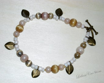 Antiqued Bronze Bracelet with Soft Rose Glass, Taupe Glass Beads, and Bronze Leaves