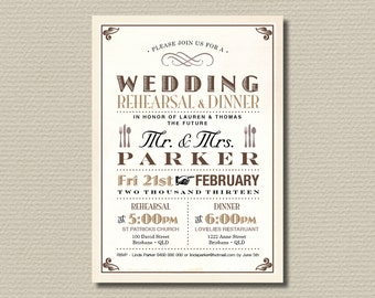 Printable Wedding Rehearsal and Dinner Invitation - Vintage Poster design in Brown & Tan (RD13)