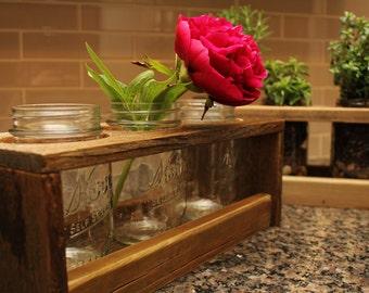 Reclaimed Wood Canning Jar Organizer / Herb Garden / Vase