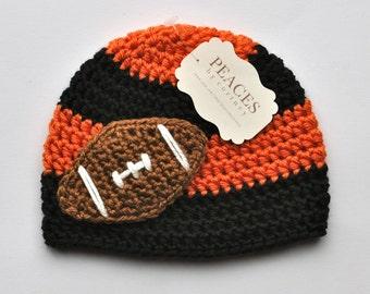 Football Beanie - Black & Orange Baby Football Hat ( newborn gift preemie hat newborn costume babyshower newborn beanie baby hats )