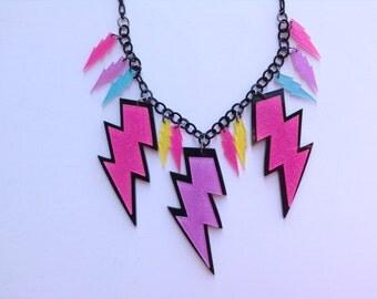 Neon Statement Necklace-Lightning Bolt Statement Necklace-Retro Statement Necklace-One of a Kind Original-Designs by Stalinda